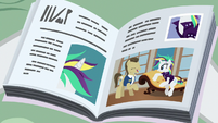 Magazine photo of Rarity helping Davenport S7E19