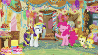 "Pinkie Pie ""it's super-sticky celebration string!"" S7E19"