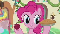 Pinkie Pie holding an apple and pie S5E20