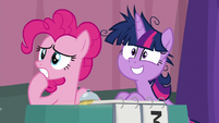 Pinkie and Twi watch Sunburst and Cranky leave S9E16