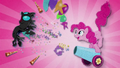Pinkie blasts changeling with her party cannon BFHHS1.png