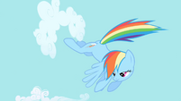 Rainbow Dash continues clearing the sky S1E01