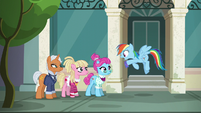 Rainbow Dash holding piece of fabric S6E9