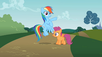 Rainbow Dash surprised at Scootaloo S2E8