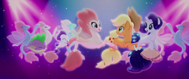 Rarity, AJ, and seaponies in a conga line MLPTM