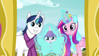 Shining Armor, Cadance, and Flurry arrive MLPBGE