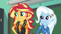 Sunset and Trixie listen to Wallflower's song EGFF.png