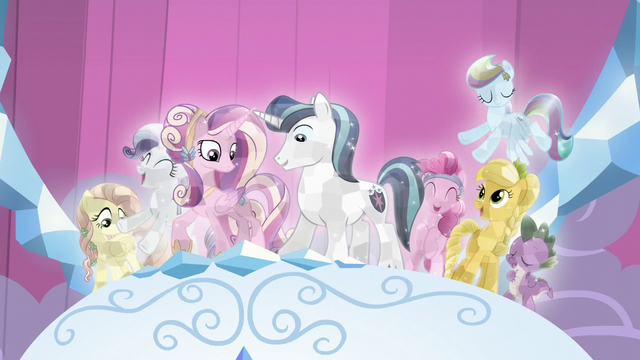 File:Twilight's friends, Cadance, and Shining Armor crystallized S6E2.png