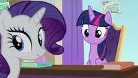 Twilight and Rarity hear Cozy Glow enter S8E16