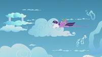 Twilight and Spike duck into a cloud S5E25