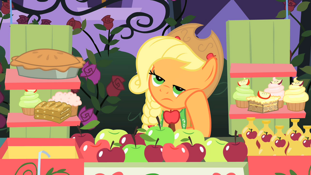 File:Applejack bored before Rarity and Blueblood walk over S1E26.png