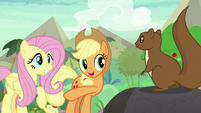 Applejack tells squirrel to lead the way S8E23