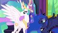Celestia and Luna watch Twilight and Starlight hug S7E1.png