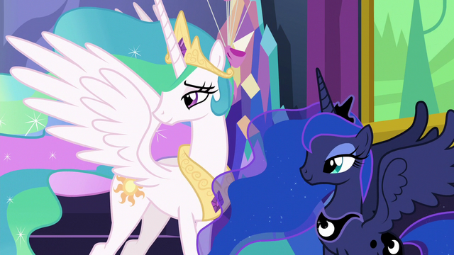 File:Celestia and Luna watch Twilight and Starlight hug S7E1.png