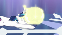 Flurry Heart teleports right above Shining's hooves S6E2