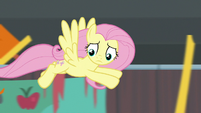Fluttershy flying around the stadium S9E22
