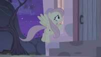 Fluttershy peeking through the front window S5E02