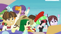 Park patrons cheering for Rarity EGROF.png