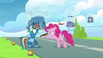 Pinkie Pie pushes the pie in Rainbow's face S7E23