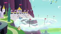Ponies watching the aerial display S5E15