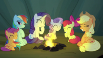 Rainbow Dash's friends laughing at her ego S7E16