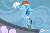 Rainbow Dash celebrates her exam result S4E21