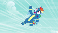 Rainbow Dash flying helplessly upward S6E7