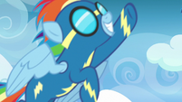 Rainbow Dash flying past the screen S7E7