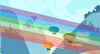 Rainbow flying past Parasprites S01E10