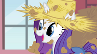Rarity complimenting Applejack's dress S4E13