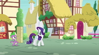 Rarity thanking Spike for his help S7E9