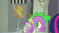 Spike pulls himself out of spider web S9E5