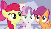 The Cutie Mark Crusaders hear Mrs. Cake S6E4