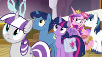 Twilight's family listens to director's announcement S7E22