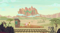 AJ and Fluttershy walk to the Peaks of Peril S8E23