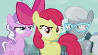 Apple Bloom in front of Diamond Tiara and Silver Spoon S5E18