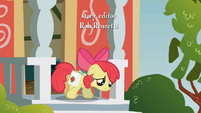 Apple Bloom sadly walking out of school S1E12