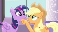 Applejack cheering up Twilight S4E1