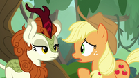 Applejack questioning Autumn Blaze S8E23