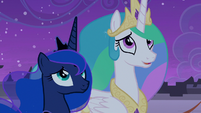 Celestia and Luna admire the fireworks S9E17
