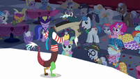 Crowd laughing at Discord S5E7