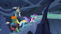 Discord, Trixie, and Starlight climbing hive steps S6E25.png