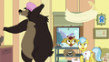 Grizzly bear tosses towel on Dr. Fauna S7E5.png