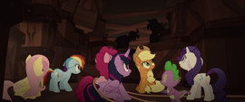 Mane Six and Spike hiding from the pirates MLPTM