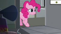 Pinkie Pie entering Cheese's office S9E14