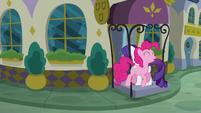 Pinkie follows Rarity into the restaurant S6E12