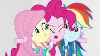 Pinkie squishes her, Fluttershy, and Dash's cheeks EGROF