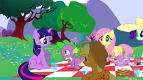 Ponies looking at Spike S2E25