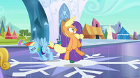Rainbow Dash flies in behind Applejack S3E2