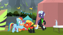 Rainbow Dash shaking Short Fuse's wing S8E20